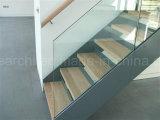Bajo costo Stringer, la placa de acero recto de cristal sin marco de escalera con barandilla de cristal templado para residencial de