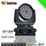 36pcs X 18W Rgbwauv 6-en-1 ZOOM LED Moving Head Wash lumière