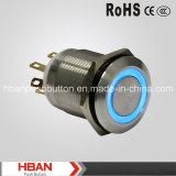 세륨 RoHS (19mm) 반지 조명 순간 걸쇠를 거는 산업 누름단추식 전쟁 스위치