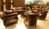 Sofá de couro de Chesterfield do vintage da qualidade superior