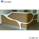 Tw White Gloss Bureau en pierre artificielle Bureau de réception LED