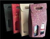 손잡이를 가진 물결 모양 플루트 포도주 포장 상자