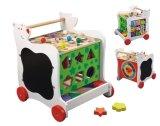 Carrinho de brinquedos de madeira com rodas para crianças de até 3 anos