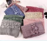 Atacado Algodão Poliéster Cor lisa Long Fashion Lady Shawls Embroidery Scarf