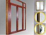 Porta de vidro do Casement revestido de madeira luxuoso do PVC da película de cor da grão com vidro Tempered de vitrificação dobro (PCD-004)