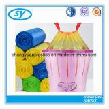 Sac de détritus biodégradable en plastique de cordon avec la couleur différente