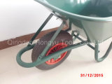 Wheelbarrows de borracha pintados verde da roda