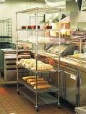 Edelstahl-Arbeits-Tisch-Draht-Regal-Zahnstange des Hotel-Gaststätte-Handelsküche-Geräten-#201
