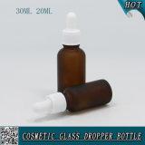 Frasco líquido ambarino geado 1oz do vidro E de 2/3 de onça com o tampão plástico branco do conta-gotas
