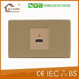 Aufgetragener Druckknopf-Wand-Schalter des Edelstahl-1gang kleiner