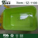 Recipiente de alimentos descartáveis com textura decorativa e logotipo interno sob membrana