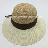 Sombrero de paja de la rafia con el borde de la trenza de papel (Sh049)