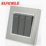 Placa cinza botão preto 16A/250V Rodada Interruptor de parede