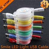 LED Light Smile Cabo de dados de carregamento USB para o telefone móvel Andriod