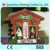 De Magneet van de Koelkast van de Punten van de Herinnering van de Hars van het Ontwerp van het Huis van Oostenrijk met Thermometer