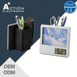Reloj digital de la tabla de la foto del marco de la foto con el portapluma para la promoción