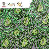 Alto Qlty acoplamiento 157 del poliester del verde del pavo real de la suposición de la tela del cequi de 2017