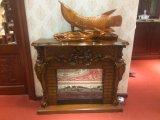 Mantel de lareira elétrica de madeira maciça esculpida de luxo (GSP15-001)