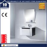 Белый шкаф мебели ванной комнаты твердой древесины лака с зеркалом