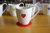 Hot Sales Heart Shape Decal Design Tasses de café en céramique