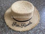 Cappelli di Sun del giocatore di bocce delle donne della paglia della rafia di alta qualità con il marchio del ricamo (CPA_80055)