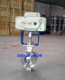 Válvula de bola eléctrica del tipo V de la oblea (GVQ970F)