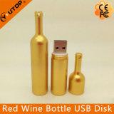 USB de encargo Pendrive (YT-1216-02) de la botella de vino rojo del metal de la insignia del regalo del lagar