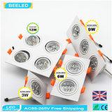 12W calientan el poder más elevado de aluminio Dimmable LED Downlight de la casilla blanca