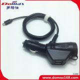 携帯電話二重USB引き込み式のワイヤーで縛られたマイクロ旅行車の充電器