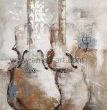 キャンバスの芸術のキャンバスで手塗り多重ギターの油絵