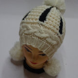 Крышка Beanie шлема зимы кабеля POM POM связанная рукой