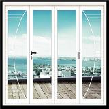 Preiswerte Preis-blaue Farben-schiebendes Aluminiumfenster mit Frost-Glas