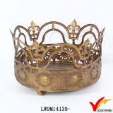 Porte-bougie Antique Gold Metal Crown