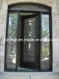 緩和されたガラスとの錬鉄のドアの入口の機密保護