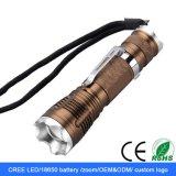 Leistungs-nachladbare wasserdichte Fokus-Taschenlampe