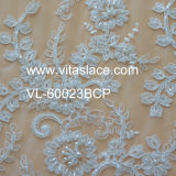 Table Cloth Vl-60023cのための象牙1.4m Corded Lace Fabric