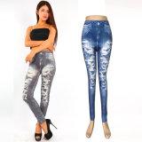 Дешевые сшитых синий Жан брюки Leggings