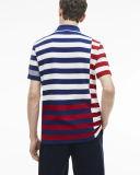 Regular-passendes buntes seitlich versetztes Streifen-Polo der Männer