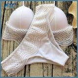 Etiqueta personalizada de encaje blanco sexy traje de baño Bikini Halter trajes de baño