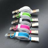2 в одном Retractable кабеле USB с раковиной металла для iPhone и Samsung