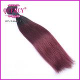 Les cheveux de Remy de couleur d'Ombre de qualité tissent les cheveux humains droits péruviens