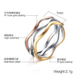 joyería de plata de los bucles del color tres de Rose del amarillo del anillo del acero inoxidable 316L