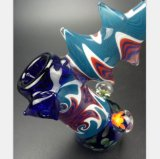 Blaue Tätowierung-Glaswasser-Rohr-Filter, der Glaswasser-Rohr aufbereitet
