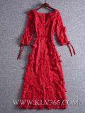 Шикарный способ женщин конструкции с платья вечера плеча шифонового Silk флористического длиннего макси