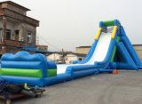 Venta caliente de color azul océano tema tobogán inflable Barco