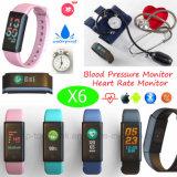 De nieuwe Kleurrijke Slimme Manchet van de Vertoning met De Monitor van de Bloeddruk (X6)