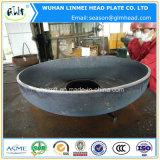 Testa ellissoidale servita del acciaio al carbonio con il foro di perforazione per le caldaie