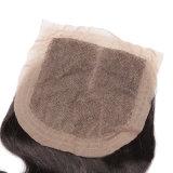 Выдвижение черных волос реальных человеческих волос девственницы объемной волны закрытия шнурка бразильских естественное
