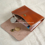 Calf genuino Leather Slim Credit Card Coin Holder con Button