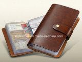 Carteira de couro do suporte de cartão da forma, caixa de cartão da identificação